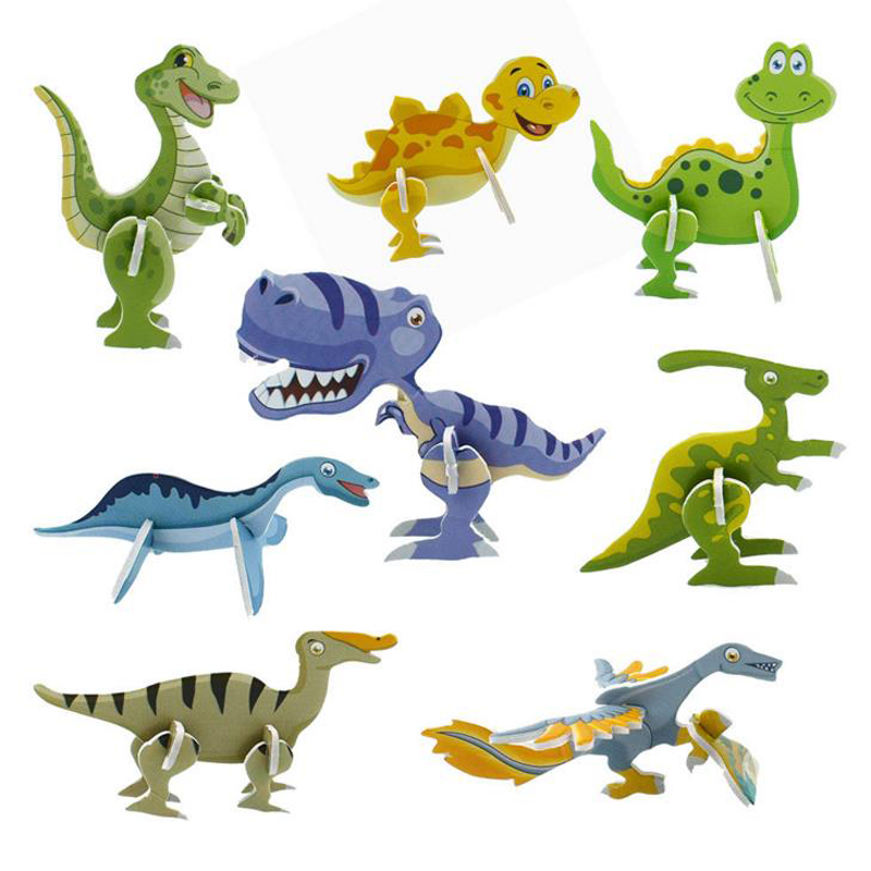 10 Pcs Hot Sale Dinosaur Party Gift 3D Dinosaur Puzzle Jungle Party Favor Cute Kids Happy Birthday Party Supply Souvenir