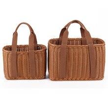 Cesta de mimbre hecha a mano tamaño S/L, bolso de compras de ratán portátil, bolso de playa tejido, bolsos de mano grandes, bolsa de almacenamiento