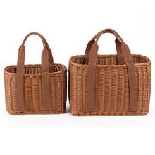 S/L ขนาดตะกร้า Hand Made หวายกระเป๋าแบบพกพาหวายกระเป๋าทอ PicnicBasket กระเป๋าชายหาด Totes Storage กระเป๋า