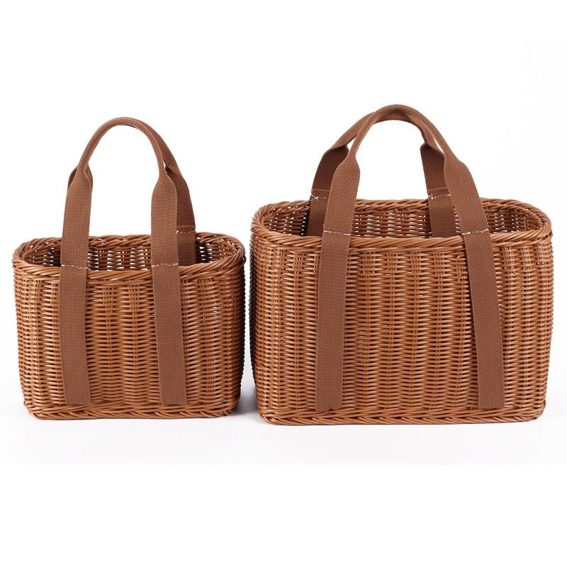 S/L Size Basket Hand Made Wicker Bags Portable Rattan Shopping Bag Woven  PicnicBasket Beach Bag Big Totes Storage Bag
