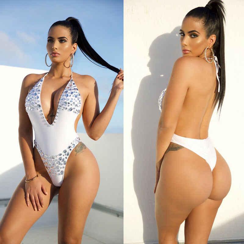 אופנה יהלום קריסטל מקשה אחת נשים של בגדי ים סקסי תחבושת לדחוף את Monokini בגד ים עמוק v וחוף
