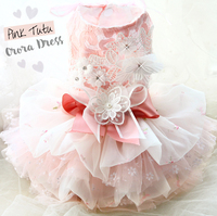 Free shipping handmade diamond flower lace fluffy yarn Princess dog clothes dress pet ropa perro mascotas roupa cachorro