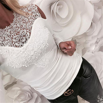 Sweet Lace T-Shirt Women Off The Shoulder Pink Slim Fit Tees Ladies 2