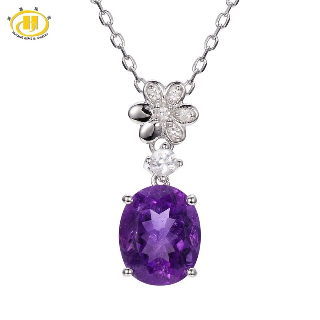 Hutang 3.68ct Natural African Amethyst Pendant Solid 925 Sterling Silver Necklace Gemstone Women's Gift Fine Jewelry New Arrival