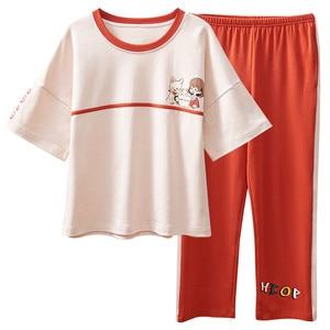 Image 5 - 큰 야드 xxl 여성 잠옷 세트 100% 코튼 nightwear 봄 여름 짧은 소매 잠옷 o neck sleepwear 여성 pijamas mujer