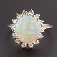 100% натуральный Овальный Форма 6*8 мм Austrialian огненный опал кольцо с Moissanite в 14 К белого золота с подарочная коробка