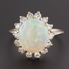 100% Natural Oval Shape 6*8mm Austrialian Fire Opal Ring with Moissanite in 14k White Gold with Gift Box