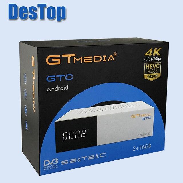1pc FREE SAT Freesat GTC Android 6.0 TV BOX DVB-S2/T2/Cable/ISDBT Amlogic S905D 2GB RAM 16GB ROM