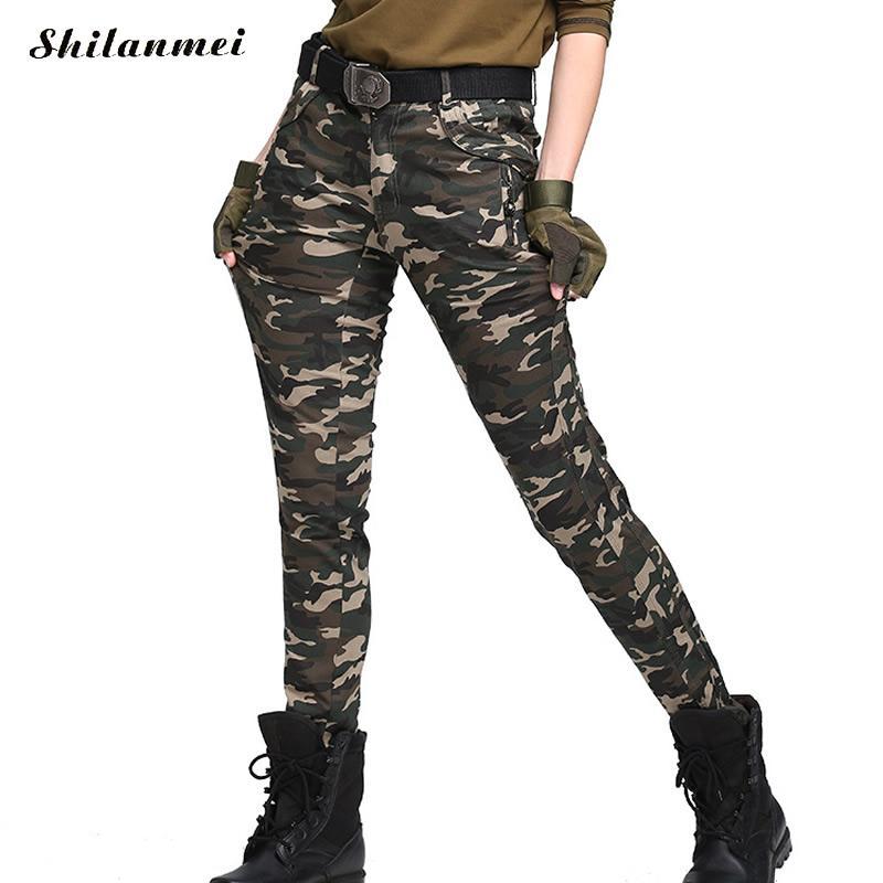 Grande taille 5xl 6xl femmes Camouflage Pantalon mode 2017 militaire femmes chaud hiver Pantalon armée Harem Pantalon femmes Pantalon Femme