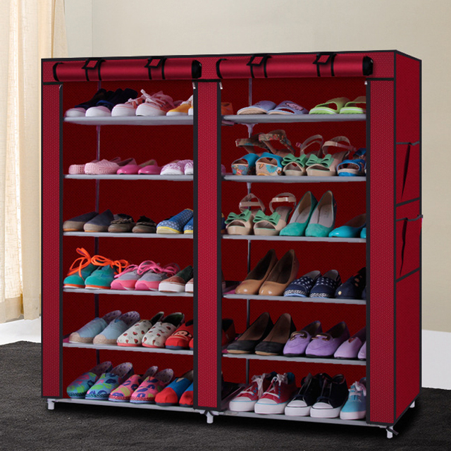 12 Grids 5 Colors 13 mm Steel Pipe Non-woven Shoe Cabinet With Curtain For Living Room Or Doorway H205