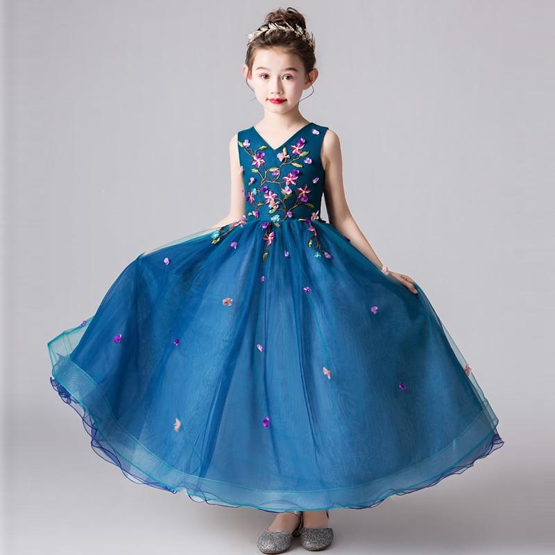 Summer Spring Luxury New Children Girls Embroidery Flowers Birthday Evening Party Princess Dress Kids Host Piano Costume Dress