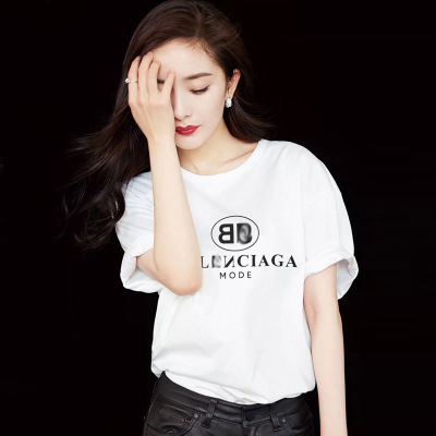2019 summer new Yang Mi with the letter printed cotton shirt student loose wild short-sleeved T-shirt female