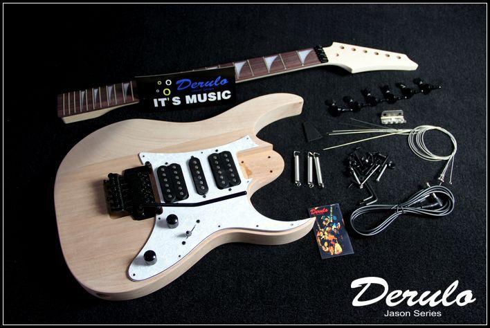 Kit guitare électrique bricolage corps en acajou massif manche en érable MX-024 non fini