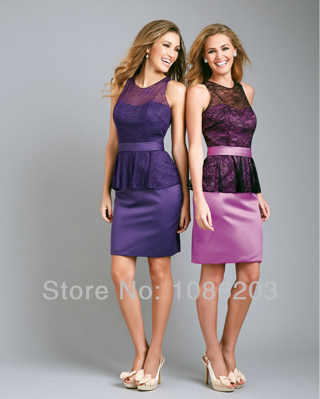 Lace Sheath Slim fitted Lace Bodice Bridesmaid Dresses Short Satin ...