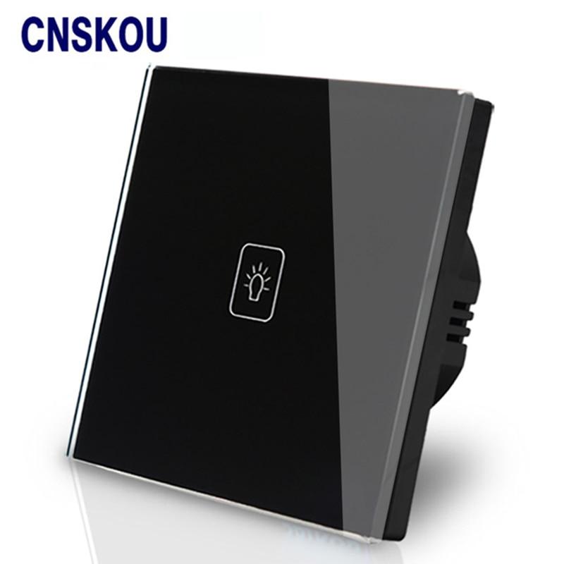 Cnskou Eu Touch Switch Wall 1g1w Luxury Black Crystal