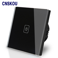 Free Shipping SANKOU UK Touch Switch Wall 1G1W Luxury Black Crystal Glass Touch Sensitive LED Dimmer