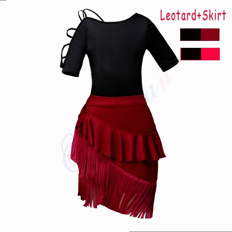 2 PCS Gymnastic Leotard + Latin Dance Skirt Girls Ballroom Tango Samba Chacha Salsa Dancing Dress Kids Tango Skirt With Fringe