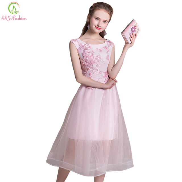 Bridesmaid Dresses SSYFashion Summer New Sweet Pink Lace Flower Tea-length  Banquet Party Formal Gown Custom Made Robe De Soiree 9fe61d2b6d8c