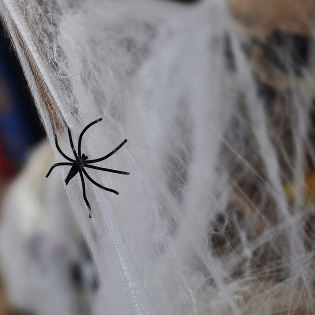 halloween scary party bar scene props spider web stretchable plastic spider web cotton horror halloween decorations - Spider Halloween Decorations