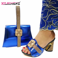 2019 Fashion Italian Design High Heels Shoes and Bag To Match African Shoes and Bag Set in Royal Blue Ladies Party shoes