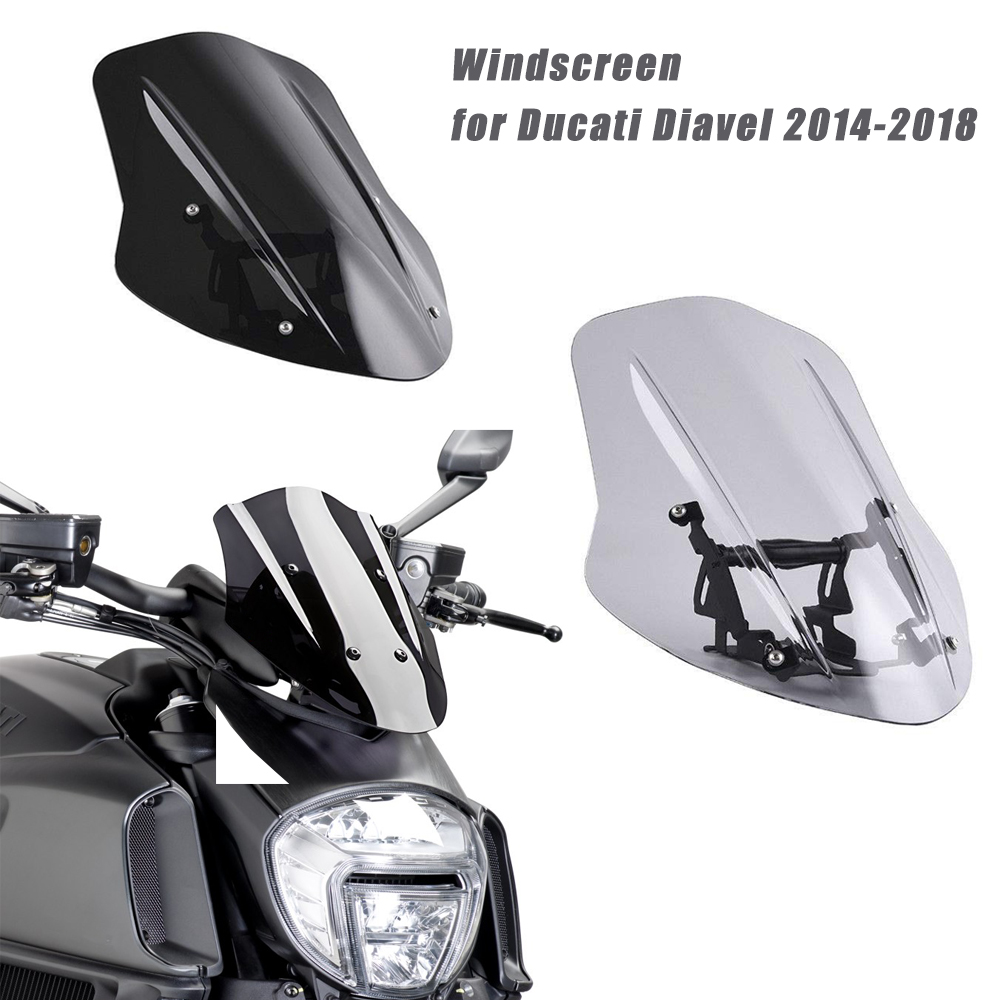 New Generation Windshield Windscreen For Ducati Diavel 2014 2015 2016 2017 2018 Motorcycle Aftermarket Screen Protector