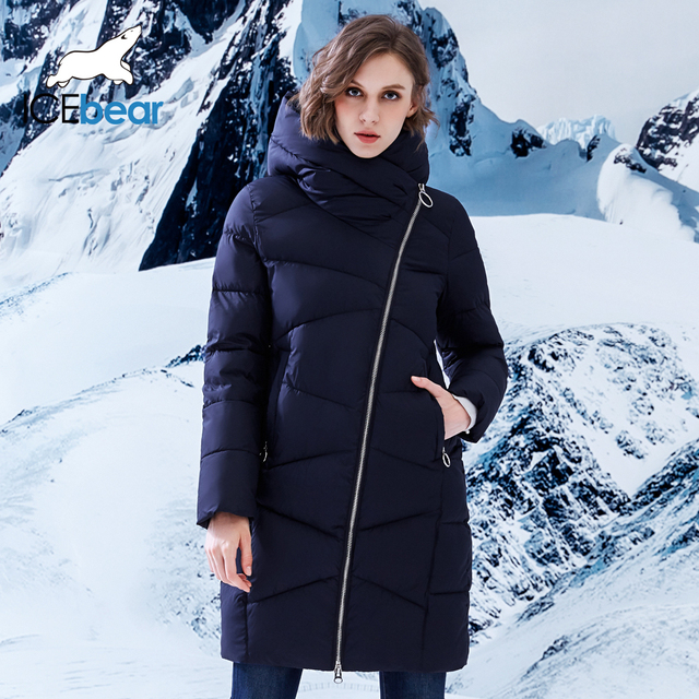 ICEbear 2018 New style Casual Long Solid Winter Women Jacket Winter Women Hooded Coat Thicken Warm Parka B17G6102D