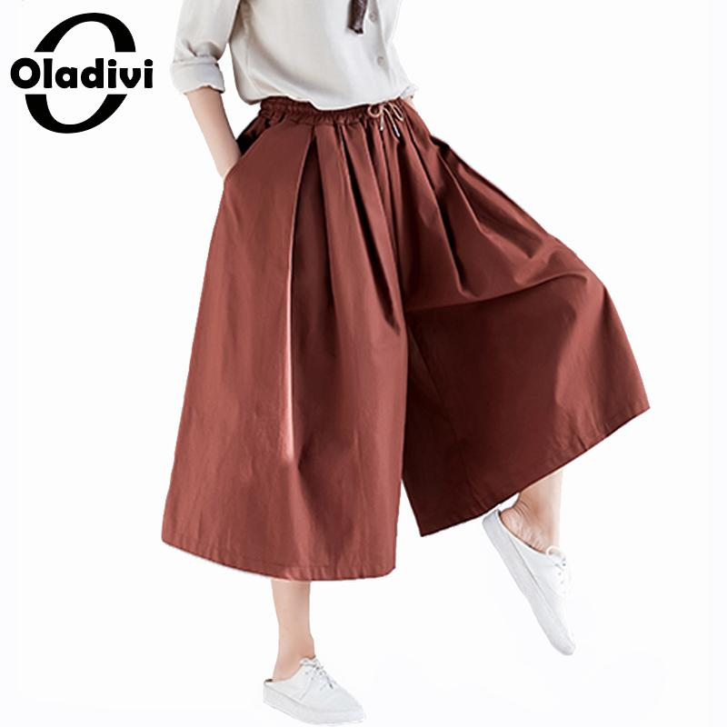 Oladivi Plus Size Women Wide Leg   Pants   Ladies Casual Loose Big Leg Pantalone   Capri   2019 Spring New Trousers Oversized   Pant   4XL