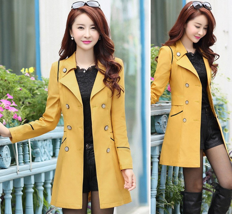 FIONTO Spring Autumn Trench Coat 19 Turn Down Collar Casual Trench Coat Women Solid Long Slim Double Breasted Coats A034-1 5