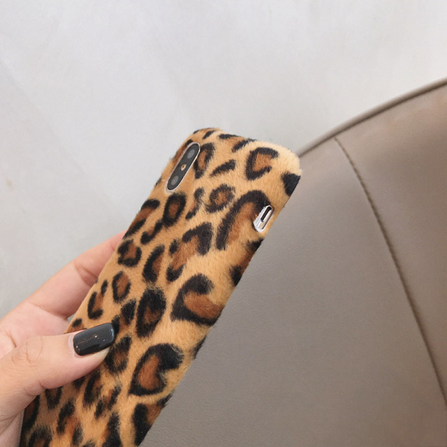 Leopard Wool iPhone Case 2019 - Luxury Warm Fuzzy Back Cover Soft Cases 4