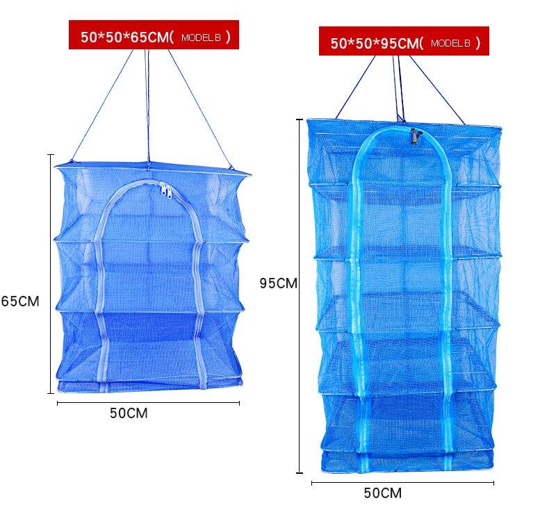 2 Size Foldable 4 Layers Drying Net Fish Net Drying Rack Hanging Vegetable Fish Dishes Dryer Net PE Hanger Fish Net B106