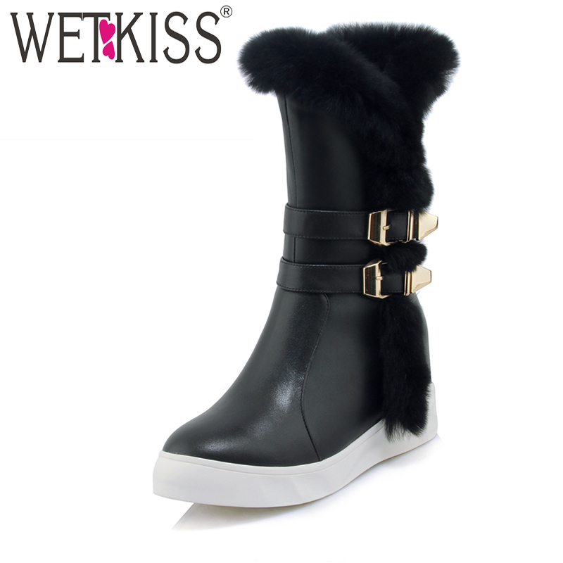 WETKISS Brand Designer Buckle Strap Mid-Calf Boots Soft Fur Warm Winter Boots Height Increasing Platform Ladies Shoes Woman Zip zippers double buckle platform mid calf boots