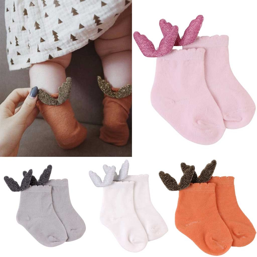 New Newborn Socks Air Conditioning Summer Cute Wing Cotton Baby Kids Girls Solid Toddlers High Socks Dropping Kniekousen Meisje