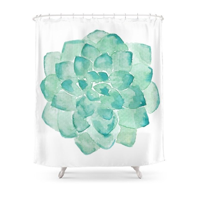 Watercolor Succulent Print In Seafoam Green Shower Curtain Fabric Liner With 12 Hooks 72Wx80H Inch Waterproof And Mildewproof