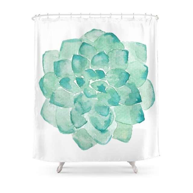 Online Shop Watercolor Succulent Print In Seafoam Green Shower