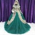 Turco Islâmico Vestido de Noiva 2016 vestido de Baile de Tule Mangas Compridas Ouro Verde Applique Hijab Muçulmano Dubai Kaftan robe de mariage