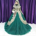 Turkish Islamic Green Wedding Dress 2016 Ball Gown Tulle Long Sleeves Gold Applique Hijab Dubai Kaftan Muslim robe de mariage