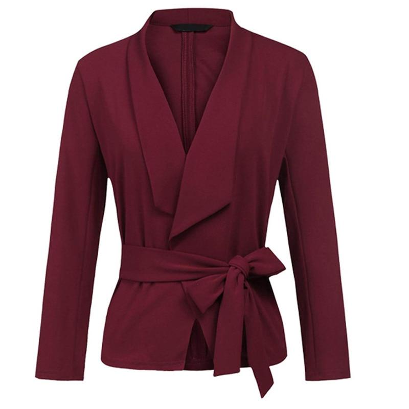 Veste red orange blue wine khaki green Décontracté Buttonless Robe D'affaires Mode Black Couleur Mince Femmes Solide Red De 5wZP1qxF6S