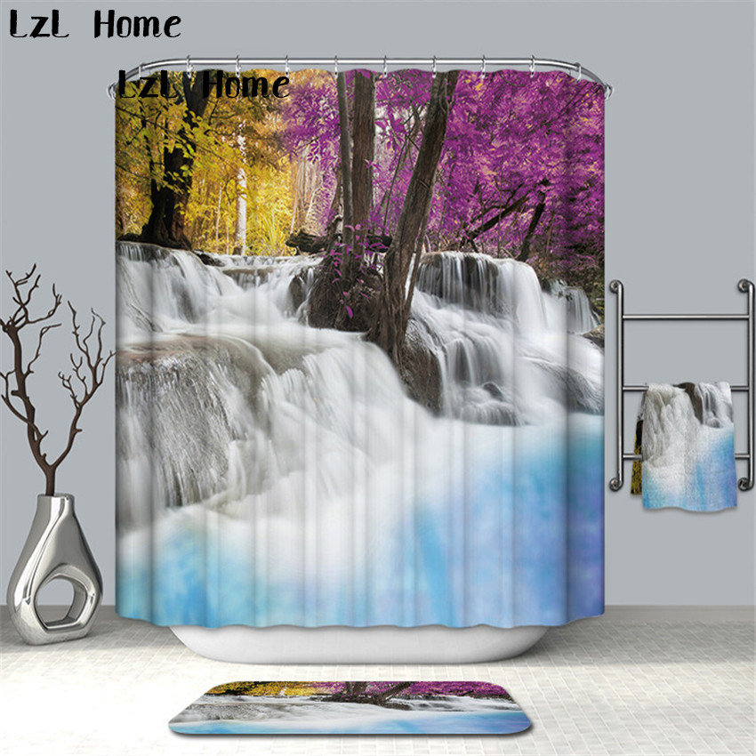 LzL Home Modern Water Scenery Shower Curtain Eco-friendly Polyester Bathroom Curtains With Hook Waterproof Mildewproof Curtains