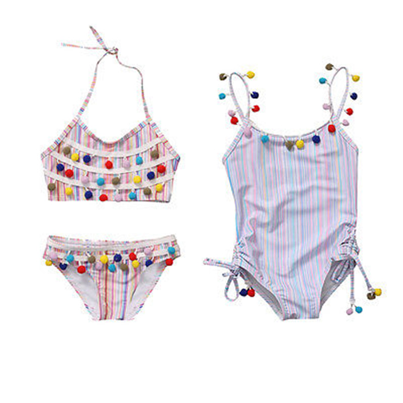 Kids bikini 2017 girls swimwear bathing one/two piece swimming suit Colorful ball stripe swimsuit children bikinis new biquini Купальник