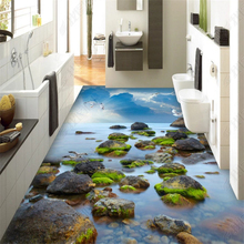 beibehang Custom classic pvc fashion silky wall paper beautiful sea stone seaside sky 3D floor papel de parede 3d wallpaper beibehang custom fashion beautiful wallpaper romantic lavender bathroom living room 3d stereo floor papel de parede wall paper