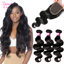 Beauty Lueen Body Wave Human Hair Bundles Med Lukning Brazilian Hair Weave 3 Bundler With Closure 4 * 4 Lace Closure NonRemy Hair