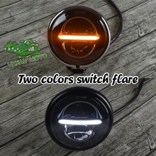 Harley Retro Motorcycle Modified LED Highlights 5.75 inch Headlights line type Driving light 2 colors flare