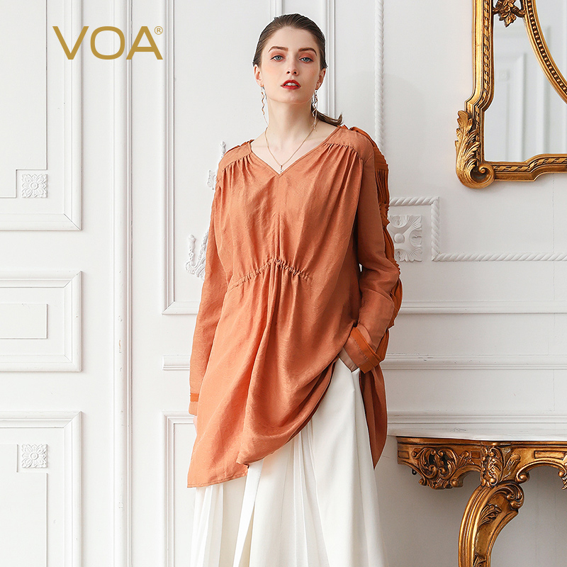 VOA Silk T Shirt Flax Women Top Tee Pullover V Neck Oversized Plus Size 5XL Loose Orange Summer Long Sleeve Casual Basic B521