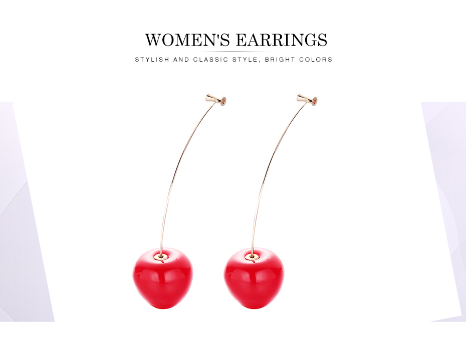 Cute Fruit Cherry Earrings Acrylic Long Red Earrings For Women Removable Elegant Jewelry Wedding Cherry Accessories Jewellery 1
