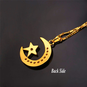 Image 5 - U7 Brand Muslim Crescent Pendant Necklace Silver/Gold Color Cubic Zirconia CZ Islam Moon Star Jewelry Women Gift  P923