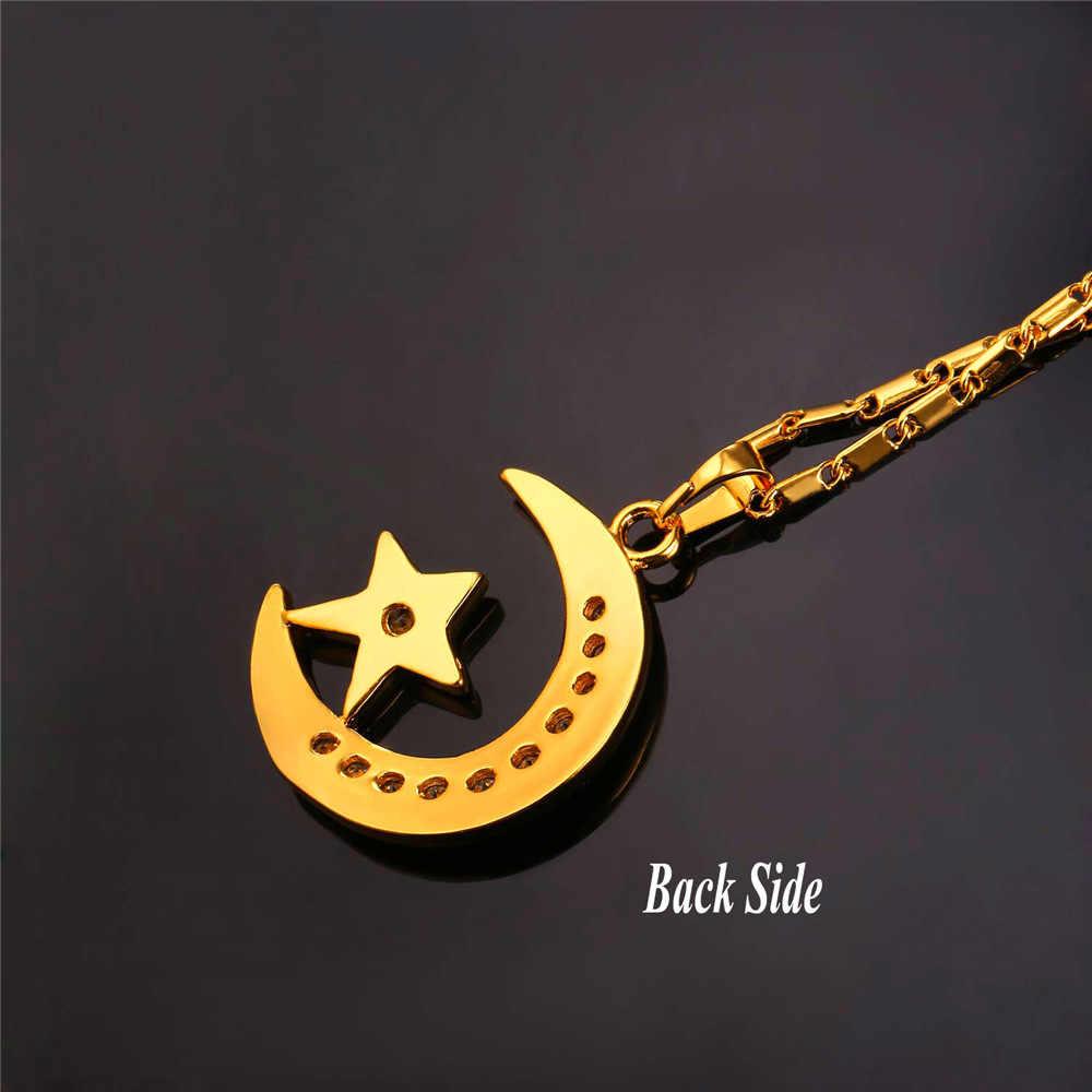 U7 marque collier pendentif croissant musulman argent/or couleur cubique zircone CZ Islam lune étoile bijoux femmes cadeau P923