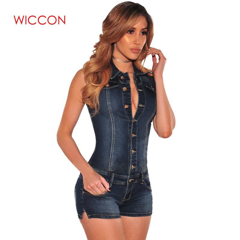 2019 Fashion Women Denim Bodysuit Sleeveless Turn Down Collar Denim Playsuit Cotton Casual Short Jeans Rompers Female   Jumpsuit