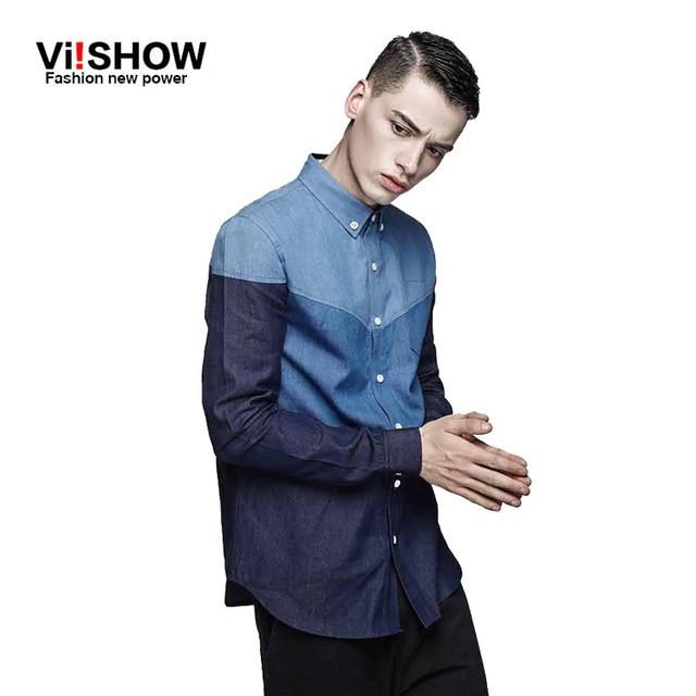 Brand NEW HOMENS VIISHOW ROUPAS camisa de vestido dos homens slim fit longo camisas dos homens da luva camisa masculina sociais slim fit camisa jeans homens