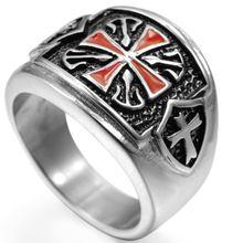 Кольцо крест из нержавеющей стали для мужчин и женщин резинка