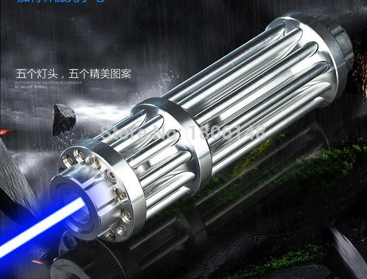 HOT! Alta Potência 5000 w 5000000 m Ponteiros Laser Azul 450nm Lazer Lanterna Fósforo Aceso/Queimar charutos luz/vela /preto Caça